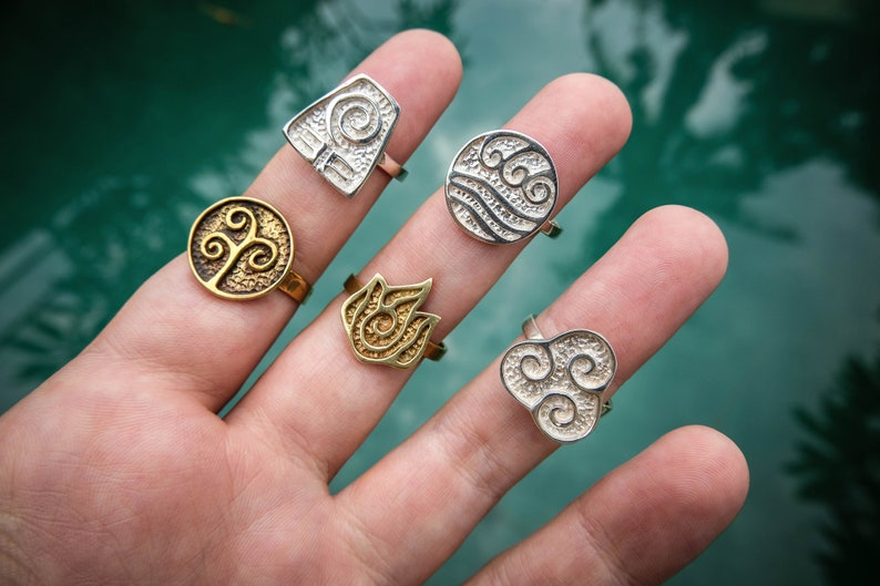 Wave Ring Element Symbol Ring Ethical Jewelry Spiritual Jewelry Water Ring Taoism 5 Elements Ring Meditation Jewelry Bali