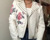 White Faux Leather Studded Jacket