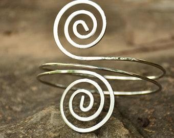 Upper Arm Bracelet   Adjustable Silver Gold Cuff Bracelet, Arm Band, Boho Arm Jewelry, Arm Candy, Hippie Arm Bangle, Bohemian Jewelry