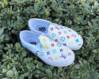 2487b026185 LV Vans Slip On Custom Shoes Designer Vans