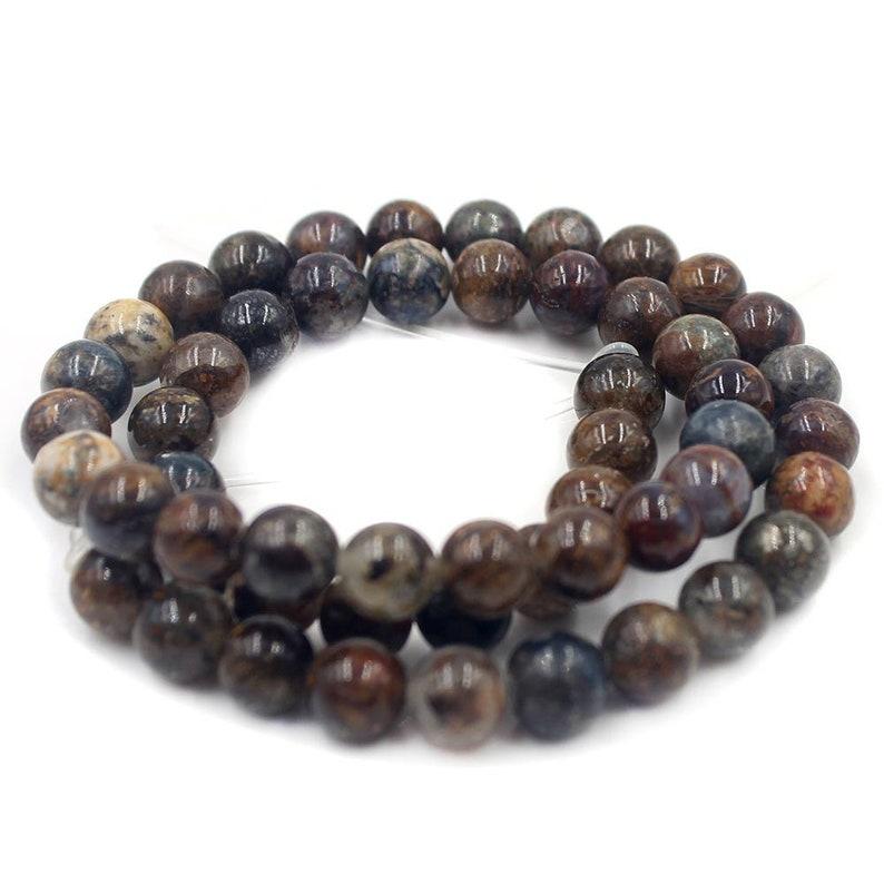 Natural 6 8 10 12mm Round Pietersite Jasper Gemstone Jewelry Making DIY Loose Beads Strand 15