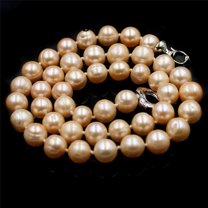 Handmade Natural 9-10mm AA Round White Pink Purple Freshwater Pearl Beads Copper Heart Clasp Knot Jewelry Necklace 18