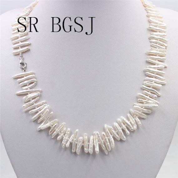 Biwa white Colored Cultured Pearl Necklace,Handmade Natural 6x24mm Biwa Baroque White Pink Purple Freshwater Pearl Beads Knot