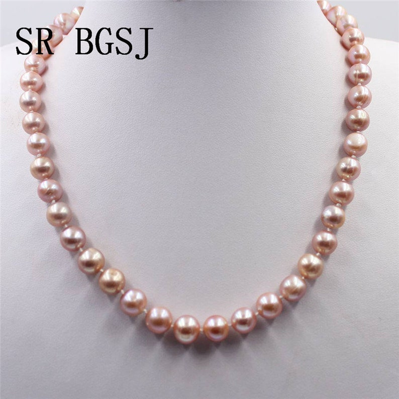 Handmade 6-7mm,7-8mm,8-9mm,9-10mm Natural Nearly Round Purple Freshwater Pearl Knot Jewelry Necklace Braclet Earrings Set