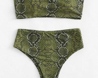 82679a604b0 Snakeskin Plus Size Bikini Set
