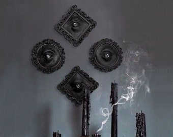 Eye Sculpture Art Black / Goth Decor / Witchy Decor / Weird Stuff / Occult Decor / Halloween Decor / Memento Mori / Oddity Curiosity