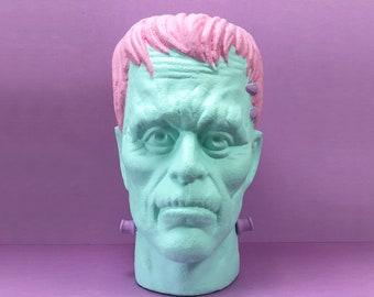 Frankenstein Bust Head / Witchy Goth Decor Halloween Statue / Weird Stuff / Pink & Blue Pastel Monster Art Sculpture