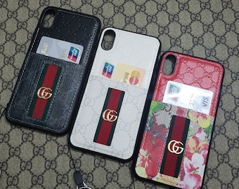 e9729b79be5d4 GUCCI Neckband + wristband iPhone X credit card bag,Finger strap iPhone XS  case