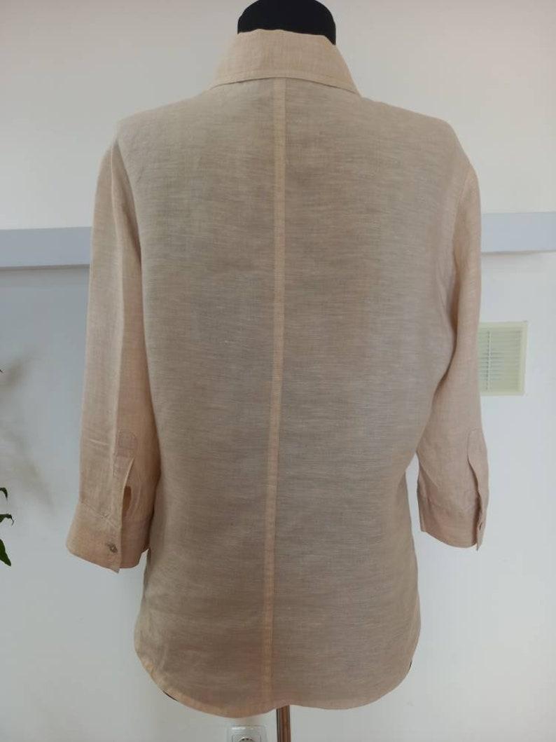 Vintage Linen Blouse   Women Linen  Top  Cream Linen Duster