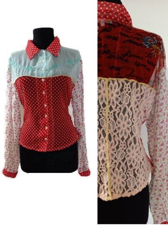 Red Polka dot blouse / 70s lace blouse / Abstract