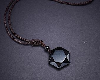 a836700a2abf50 Obsidian Necklace / Obsidian Pendant / Protection Necklace / Protection  Crystal / Black Crystal Necklece