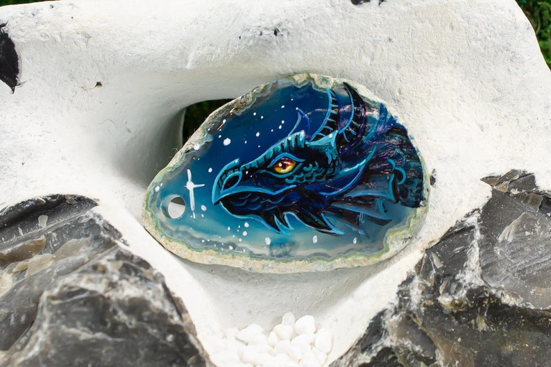 Agate Pendant Dragon with Stars in the Night Eight Disc Dragon Stars Sky Blue Blue Matrix Crystal Andara