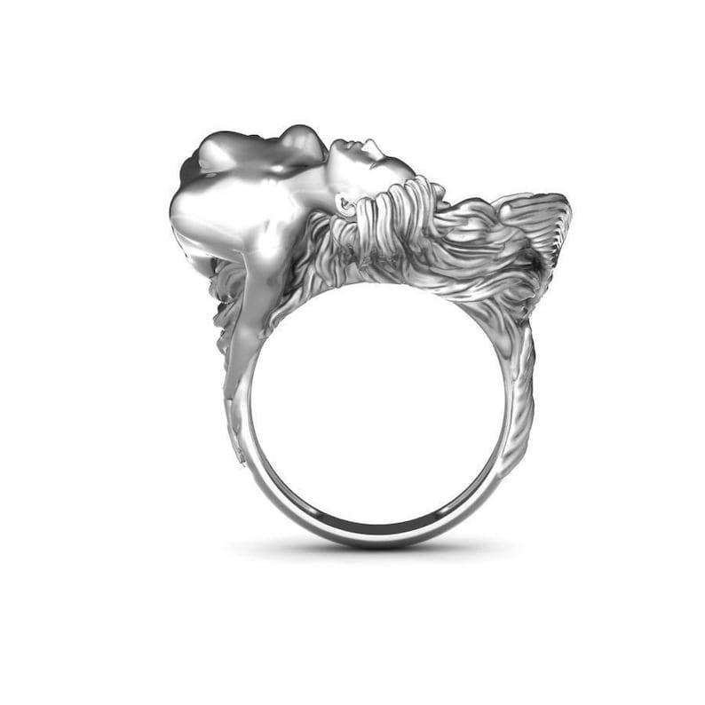 Sterling Silver Mermaid Ring Vintage Ring Silver Mermaid Ring for Women Mermaid Ring Valentine/'s Day Gift Fish Ring Wedding Ring