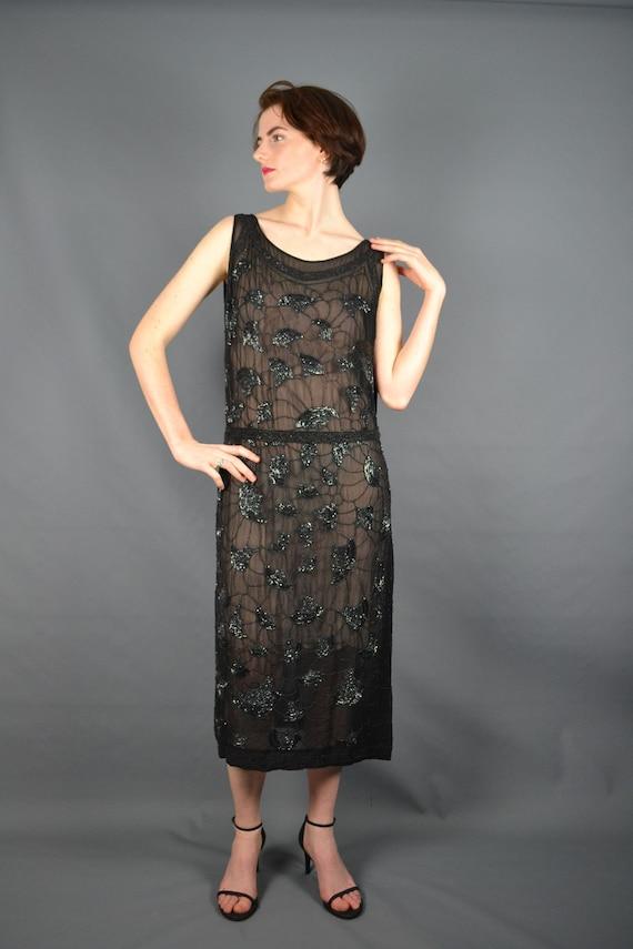 1920 - Flapper dress - chiffon and seed beads - ch
