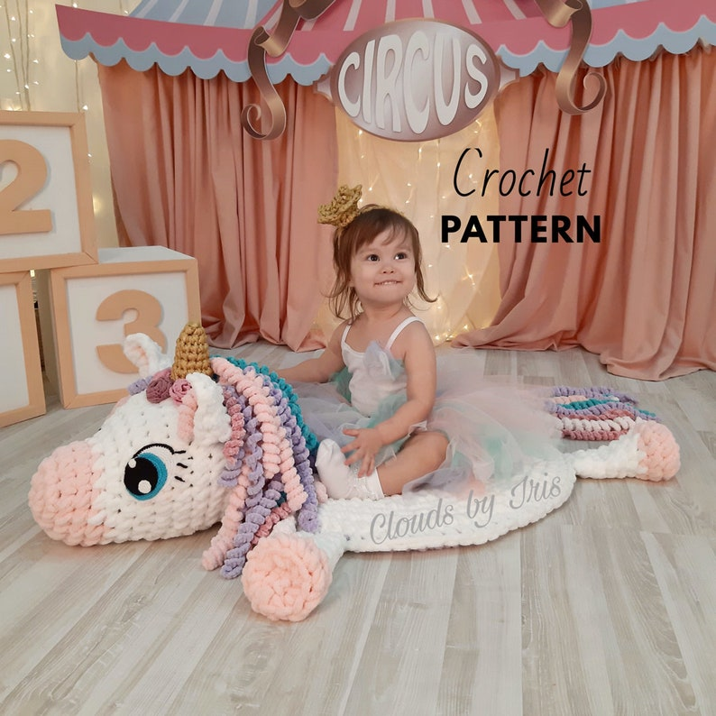 Crochet Pattern Mia Unicorn no needles and hooks image 0