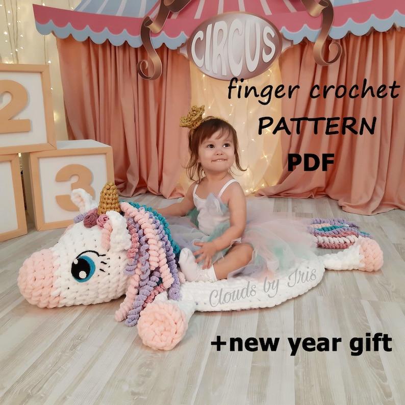 Plush baby rug Mia Unicorn  Finger Crochet Pattern  Loop image 0