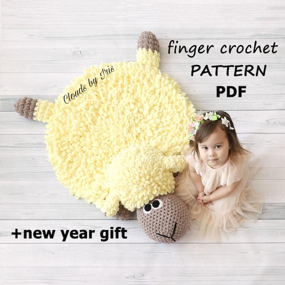 Plush baby rugpillow lamb Sven  Finger Crochet Pattern