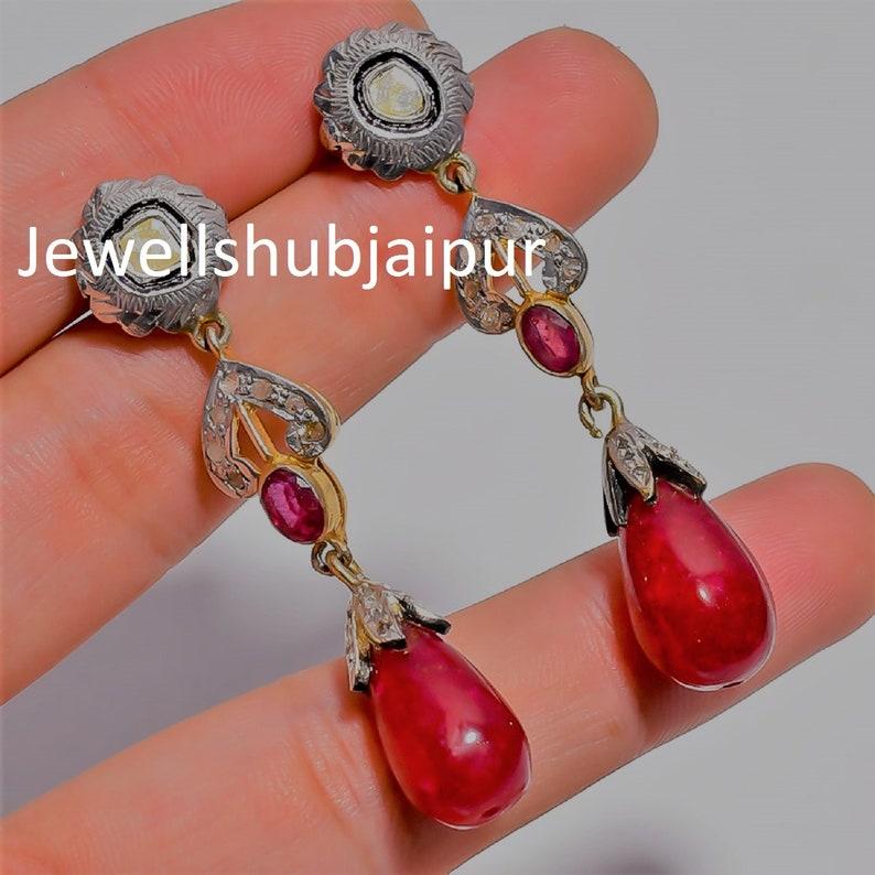 Earring Handmade Earring, Rose Quartz Ruby Earring,925 Sterling Silver Rose Cut Diamond Polki Earring