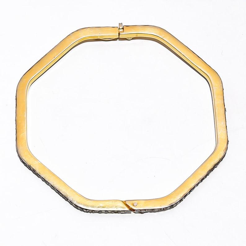 Anniversary Gift Jewelry Rose Cut Diamond Jewelry Handmade Victorian Bangle 925 Sterling Silver Gift Jewelry ER  0214