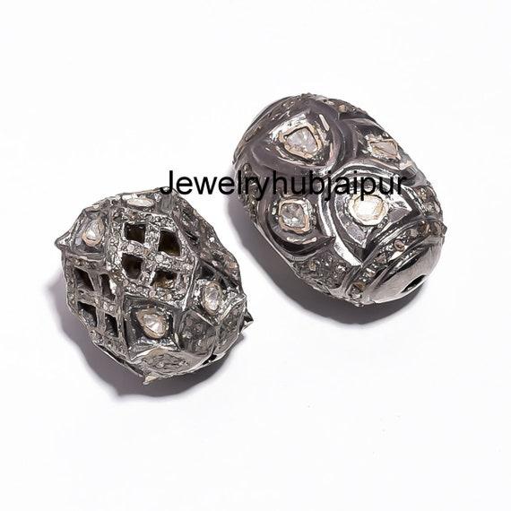 Handmade Designer 925 Sterling Silver Rose Cut Polki Diamond Victorian Beads