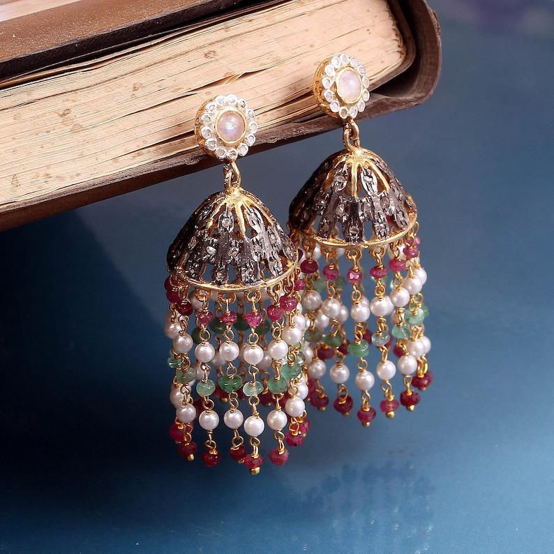 Jhumaki Earring Rose Cut Diamond Ruby Emerald Pearl Moonstone Earring 925 Sterling Silver Victorian Handmade Earring Jewelry