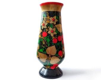 Vintage Decorative Wooden Vase  Soviet Miniature Wooden Vase  Hand Painted Wooden Vase  Wooden Vase  Home Decor