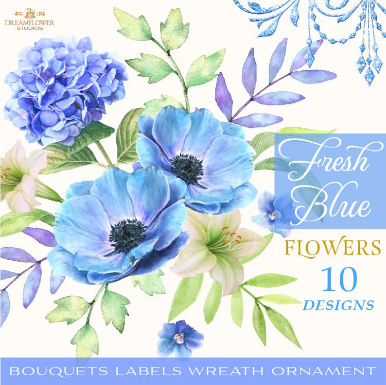 Blue Watercolor Flowers Clipart Blue Flowers Clipart Bouquets Digital Flowers Watercolor Bouquet Clipart Flower Elements Set Png Vintage