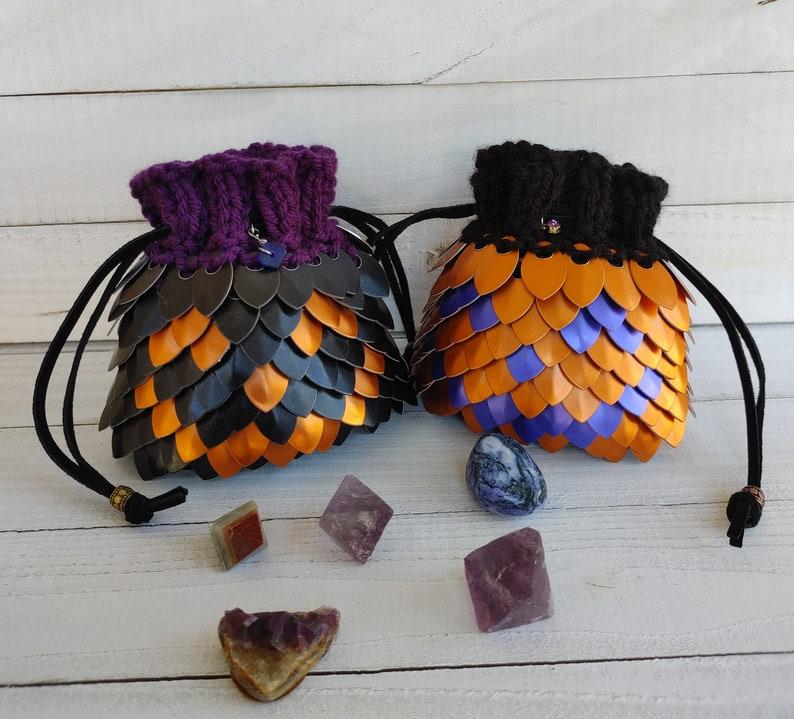 Small Dragon Scale Bag Scalemail Bag Dragon Dice Bag Jack-o-lantern
