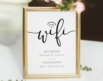 WIFI Password Sign Printable, Wifi Sign, Editable WiFi Sign Template, 4x6, 5x7, 8x10, 100% Editable, 6 Sizes, PDF, JPG, Instant Download