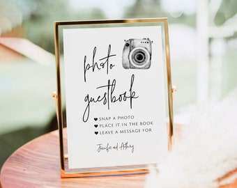 Photo Guest Book Sign, Wedding Photo Guestbook Sign, Photo Guestbook Printable, Photo GuestBook Sign Template,Polaroid Wedding Sign,Templett