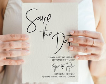 Minimal Save Our Date Save The Date Template Minimalist Digital Download Printable Save The Date Card