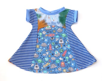 outer space solar system organic baby girl clothes Planets girls dress raglan long or short sleeve a-line dress for baby toddler and kids