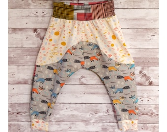 Fox Pants, Gender Neutral Winter Baby Pants, Kids Fox Clothes, Colorful Fox Baby Clothes, Newborn Baby Gift, Baby Shower Gift