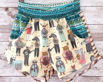 Summer Music Shorts, Beach Kids Shorts, Musical Baby Clothes, Gender Neutral Kids Clothes, Handmade Baby Clothes, Handmade Kids Shorts