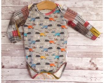 Fox Bodysuit, Gender Neutral Baby Clothes, Fox Baby Clothes, Fox Theme Baby Gift, Handmade Fox Baby Clothes