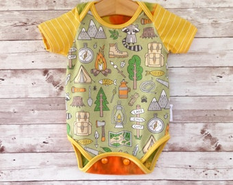 Camping Bodysuit, Baby Outfit, Gender Neutral Baby Clothes, Unisex Baby Gift, Baby Camping Clothes, Vacation Baby Clothes