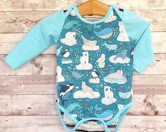 Arctic Animals Bodysuit, Gender Neutral Baby Clothes, Unisex Bodysuit, Baby Clothes with Polar Bears, Handmade Bodysuit, Newborn Baby Gift