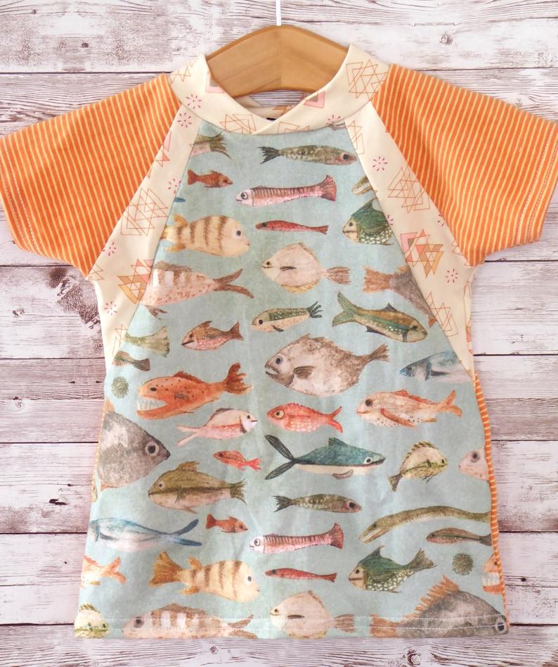 Kids Summer Shirt Unisex Toddler Shirt Gender Neutral Kids Clothes Fish Tee Shirt Kids T Shirt Beach Tee Toddler Raglan Tee Shirt