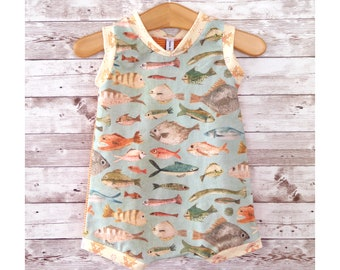 Fish Baby Romper, Gender Neutral Baby Clothes, Summer Baby Outfit, Handmade Baby Clothes, Baby Shower Gift, Unisex Baby Present