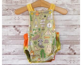 Baby Romper, Camping Baby Romper, Gender Neutral Baby Clothes, Summer Baby Camping Clothes, Unisex Baby Shower Gift, Newborn Baby Gift
