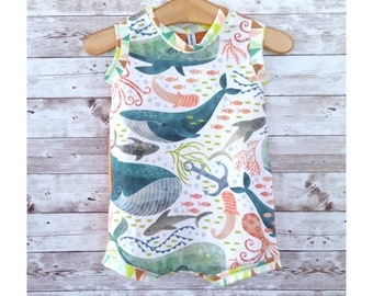 Whale Baby Romper, Gender Neutral Baby Clothes, Summer Baby Outfit, Handmade Baby Clothes, Baby Shower Gift, Unisex Baby Present