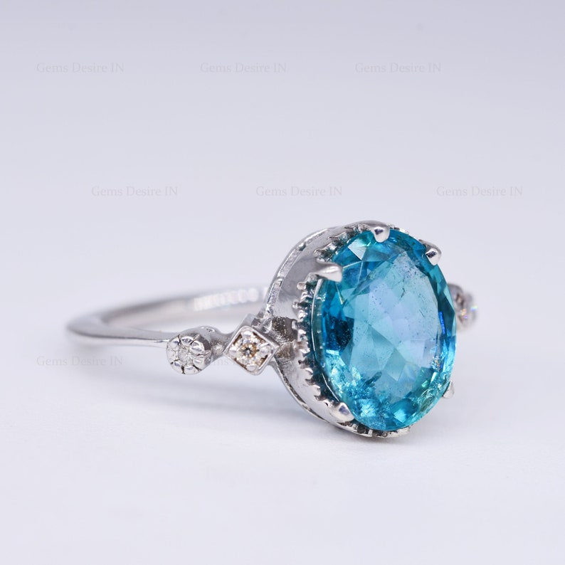 apatite and diamond ring oval cut 925 sterling silver ring  March Birthstone Engagement Ring Promise ring  fashion Ring