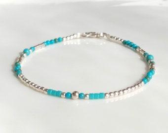 Silver turquoise layering bracelet,sterling silver 925 bracelet,silver simple bracelet,delicate thin bracelet,gemstone turquoise jewelry