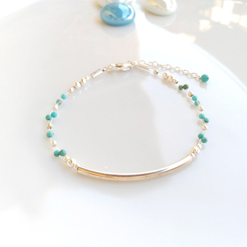 Dainty silver 925 turquoise bracelet,sterling silver bracelet,stacking beaded bracelet,gemstone turquoise jewelry,stack minimalist wristband