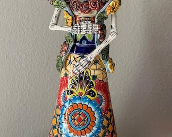 Catrina Talavera Figure Mexican Day of Dead 2 Headed Woman Folk Art Ceramic 8