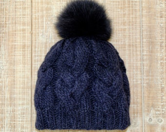 7cedba7697dab Wool hat with real fur pom-pom
