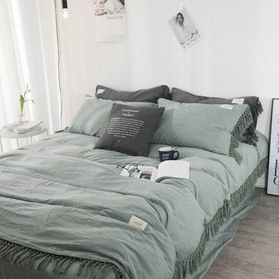 Sage Green Boho Tassel Cotton Duvet, Sage Green And Gray Bedding