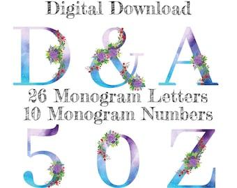 Watercolor Floral Alphabet Numbers, Letters, Wedding, Nursery Decor, Decal Sublimation PNG | Digital Download | Printable Art | Digital Art