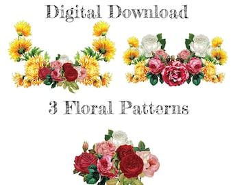 Vintage Flowers Bundle SVG, Flowers SVG, Decal, Roses, Floral Cut Files, Sublimation PNG | Digital Download | Printable Art | Digital Art
