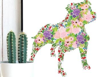 Staffordshire Dog Flowers, Staffy, Staffordshire SVG, Staffordshire Terrier, Floral SVG, Flowers Clipart, Floral Dog, Dog Flowers, Dog svg